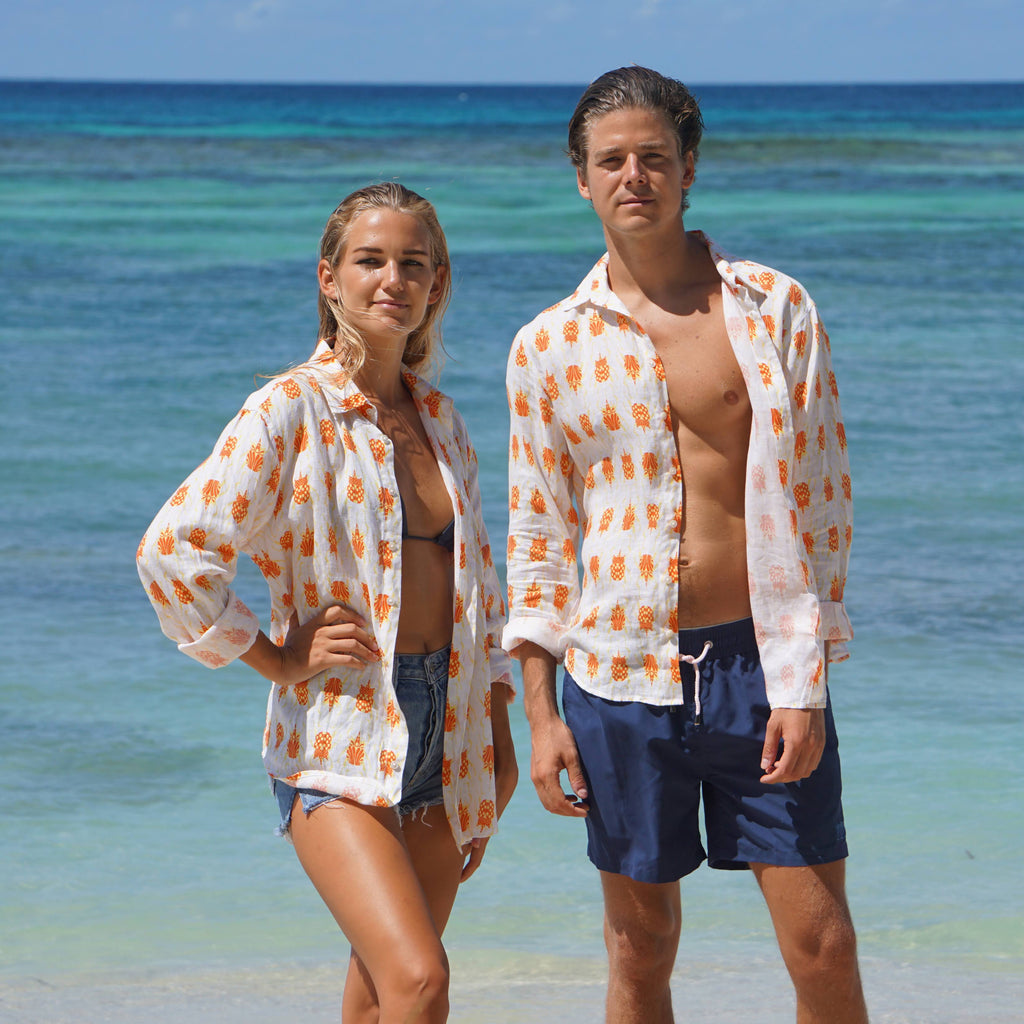 His and hers orange beetle print linen shirt