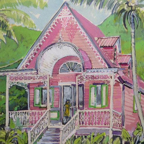 A watercolour of the Pink House