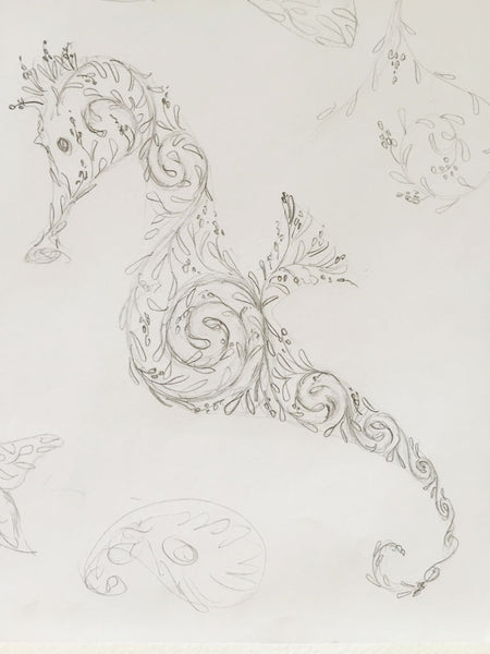 pencil sketch of seahorse by Lotty B Mustique Island