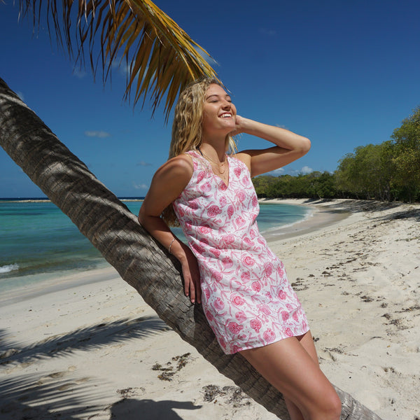 Pomegranate pink print linen slip dress mustique island