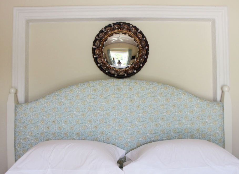 Bed Headboard in Lotty B fabric Pasion Fruit print at Tanama House Mustique