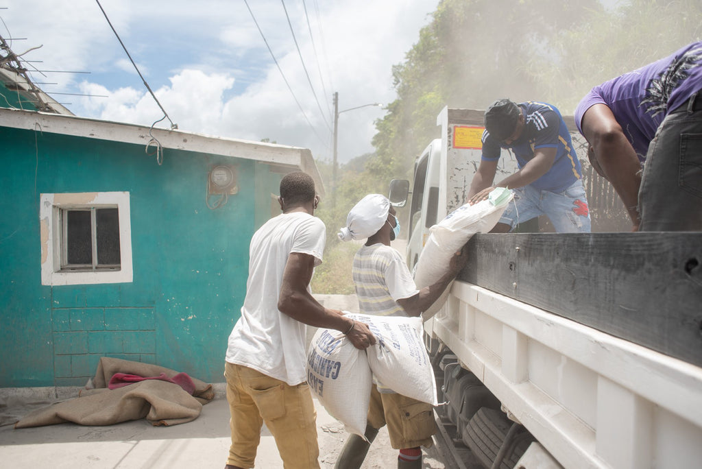 Supplying food to farmers in St Vincent