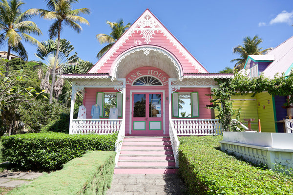 The Pink House shop on Mustique
