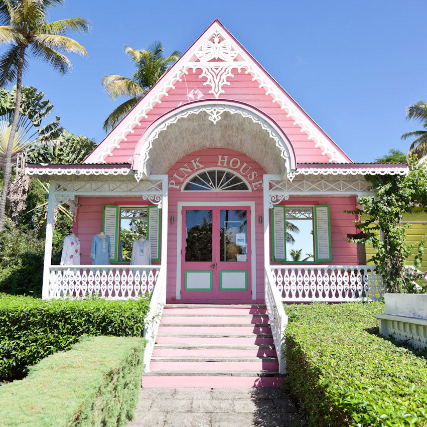 The iconic Pink House boutique shop on Mustique island in the Caribbean