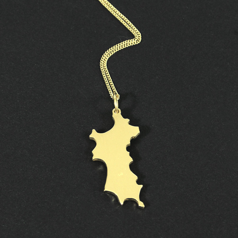 18K Gold Mustique Island Pendant - Caribbean beach style