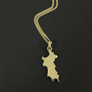 18K Gold Mini Mustique Island Pendant & Chain - Front