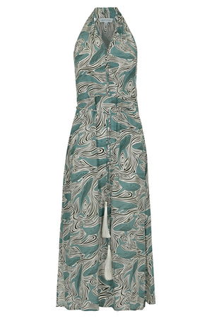 Jemima silk maxi halter neck dress in monochrome whale print by Lotty B Mustique
