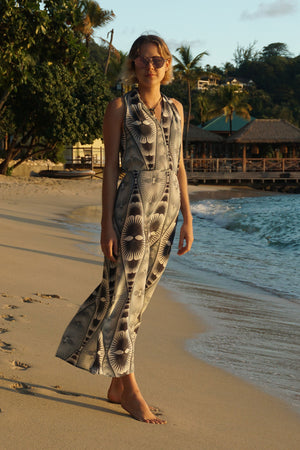 Silk Halter Neck Dress: FAN PALM REPEAT - BLACK / WHITE designer Lotty B Mustique, luxury Resortwear
