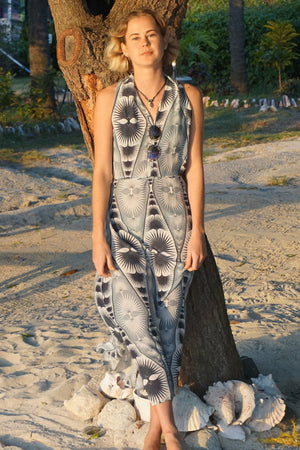 Silk Halter Neck Dress: FAN PALM REPEAT - BLACK / WHITE Exclusive Resortwear designed by Lotty B, Mustique