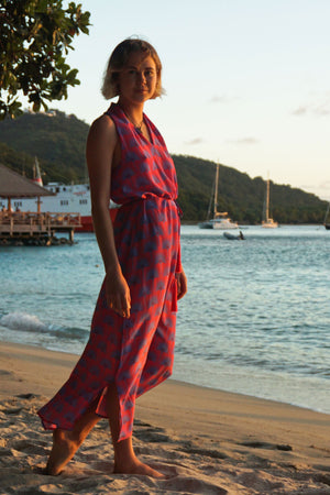 Lotty B 3/4 Halter Dress in Silk Crepe-de-Chine: SINGLE PALM REPEAT - PINK / BLUE designer Lotty B Mustique, Luxury Resort Wear