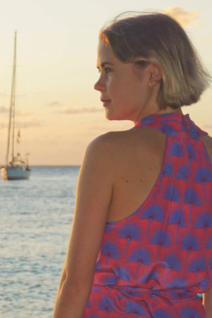 Lotty B 3/4 Halter Dress in Silk Crepe-de-Chine: SINGLE PALM REPEAT - PINK / BLUE designer Lotty B Mustique, Caribbean island style