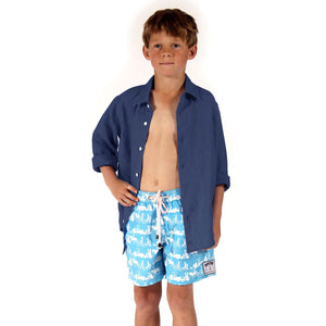 Childrens Linen Shirt: NAVY BLUE designer Lotty B Mustique kids clothing