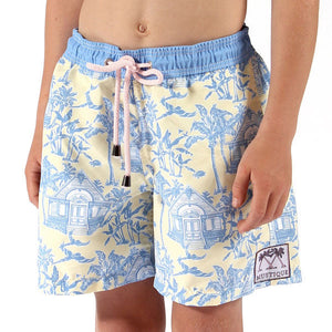 Boys Trunks (Mustique Toile Yellow/Blue) Front