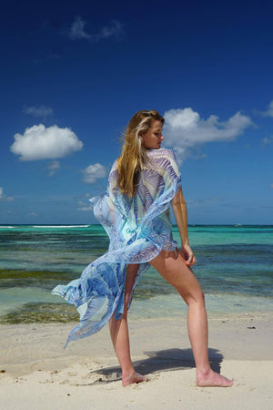 Ellie Kaftan: BANANA TREE - BLUE by designer Lotty B Mustique beach style