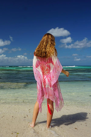 Cosima Kaftan: BANANA TREE - PINK by Lotty B Mustique designer vacation fashion