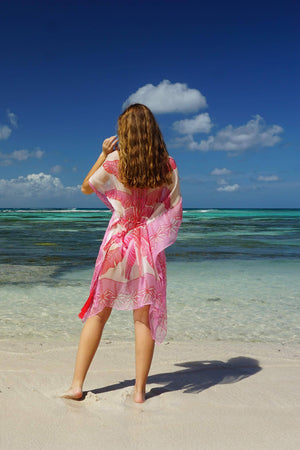 Cosima Kaftan: BANANA TREE - PINK by designer Lotty B Mustique vacation clothing