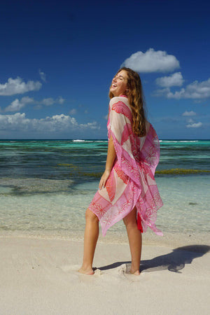 Cosima Kaftan: BANANA TREE - PINK by designer Lotty B Mustique holiday styles