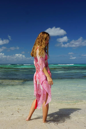 Cosima Kaftan: BANANA TREE - PINK by designer Lotty B Mustique beach style