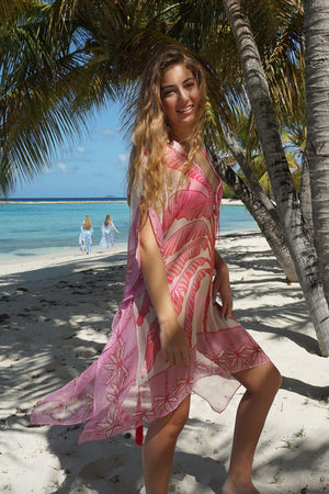 Cosima Kaftan: BANANA TREE - PINK by designer Lotty B Mustique Caribbean style