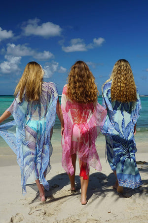 Cosima Kaftan: BANANA TREE - PINK by designer Lotty B Mustique beach life