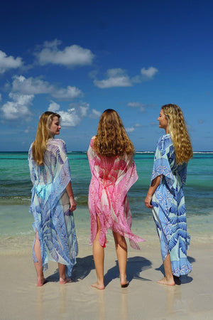 Ellie Kaftan: BANANA TREE - BLUE by designer Lotty B Mustique luxury vacation fashion