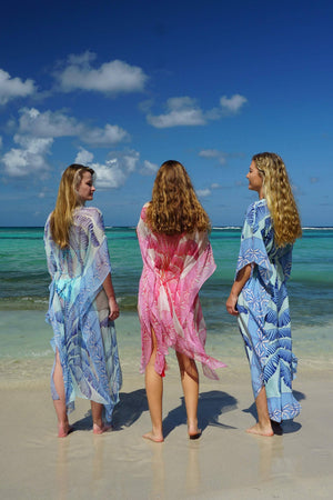 Jenlee Kaftan: BANANA TREE - BLUE by Lotty B Mustique, luxury silk dresses