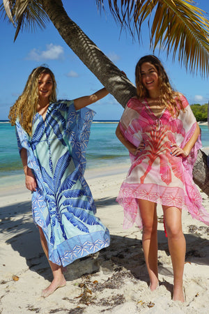 Jenlee Kaftan: BANANA TREE - BLUE by Lotty B Mustique, beach dresses