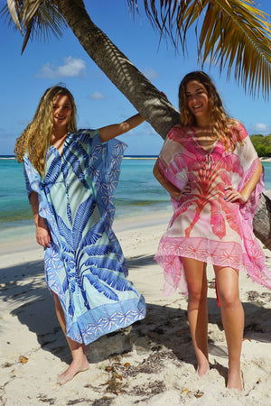 Cosima Kaftan: BANANA TREE - PINK by designer Lotty B Mustique kaftans