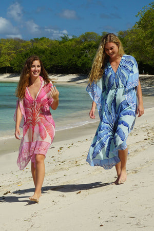 Jenlee Kaftan: BANANA TREE - BLUE by Lotty B Mustique, luxury holiday dresses