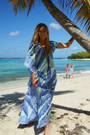 Jenlee Kaftan: BANANA TREE - BLUE by Lotty B Mustique Caribbean fashion