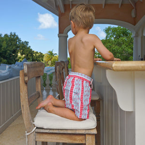 Boys swim trunks : PALM STRIPE - RED. Childrens swimwear Mustique lifestyl
