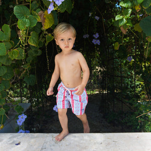 Boys swim trunks : PALM STRIPE - RED. Childrens swimwear Mustique Beach life