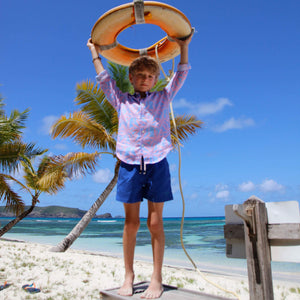 Childrens Linen Shirt: BANANA TREE - PINK designer Lotty B Mustique kids