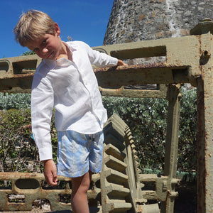 Childrens Linen Shirt: WHITE playing by the windmill Mustique