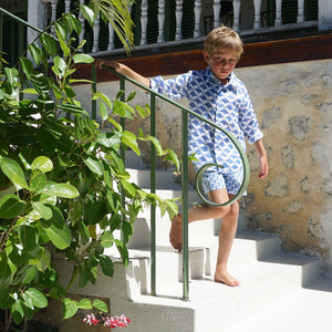 Childrens Linen Shirt: MANTA RAY NAVY steps Mustique life
