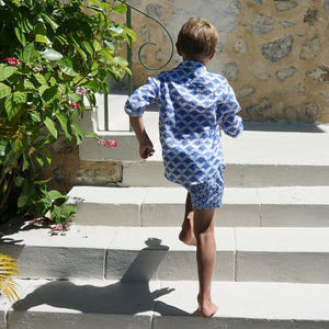 Childrens Linen Shirt: MANTA RAY NAVY Mustique life