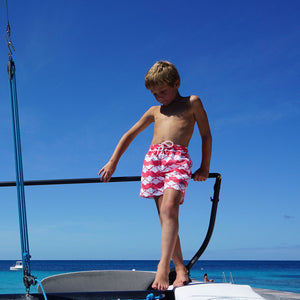 Boys swim trunks : MANTA RAY - RED on the dock Mustique