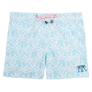 Boys swim trunks : BANANA TREE - PALE BLUE designer Lotty B for Pink House Mustique Caribbean Kids style