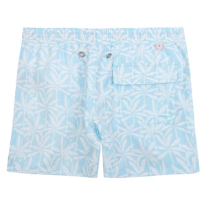 Boys swim trunks : BANANA TREE - PALE BLUE back detail, designer Lotty B for Pink House Mustique Caribbean Kids style