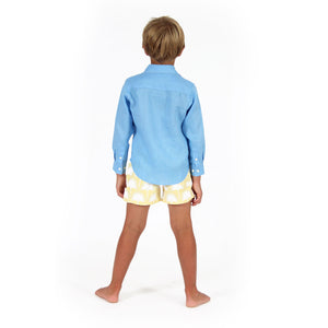 Boys swim trunks : FAN PALM - YELLOW with french blue linen shirt, back