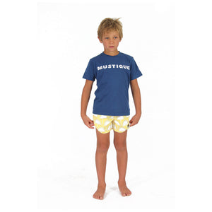 Childrens unisex T shirt: NAVY - WHITE MUSTIQUE applique