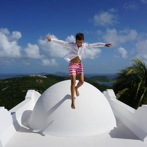 Boys swim trunks : MANTA RAY - RED roof jumping Mustique