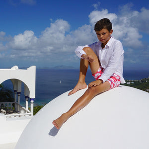 Childrens Linen Shirt: WHITE sitting on the roof villa Mustique