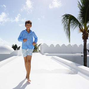 Childrens Linen Shirt: FRENCH BLUE running on the roofs Mustique