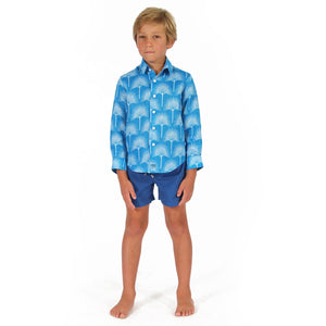 Childrens Linen Shirt: FAN PALM PALE BLUE / MID BLUE, front