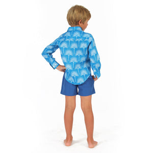 Childrens Linen Shirt: FAN PALM PALE BLUE / MID BLUE, back