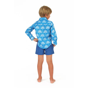 Boys swim trunks : REGATTA BLUE with fan palm blue linen shirt, back