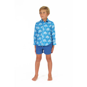 Boys swim trunks : REGATTA BLUE with fan palm blue linen shirt, front