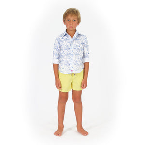 Childrens Linen Shirt: MUSTIQUE TOILE - BLUE front