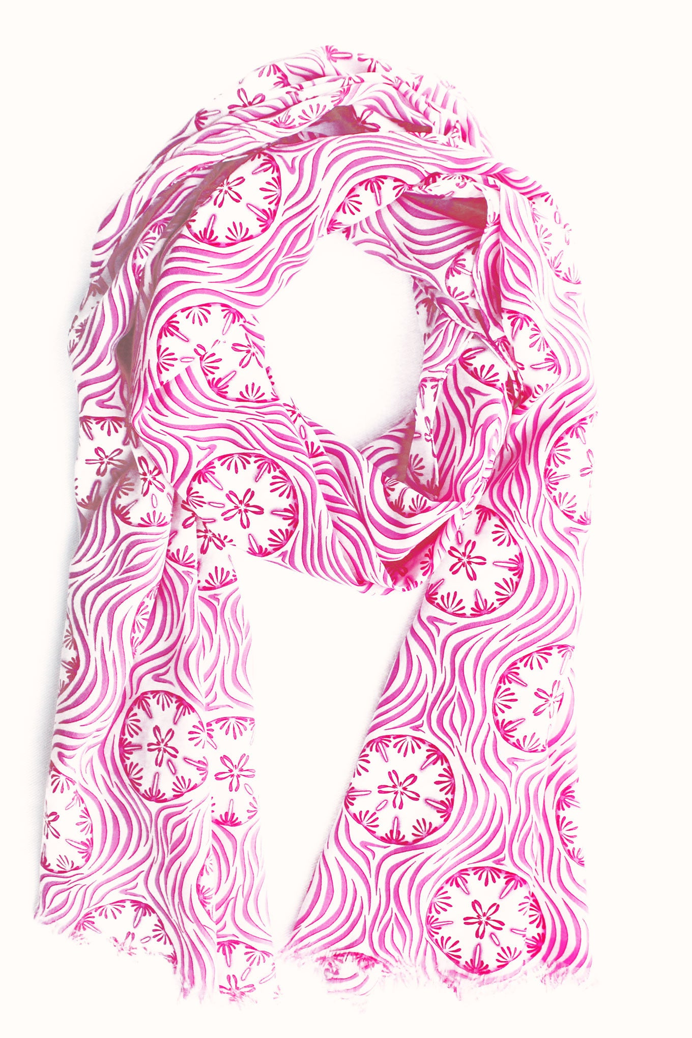 Lotty B Silk Charmeuse Long Scarf (Sand Dollar Repeat Coral)